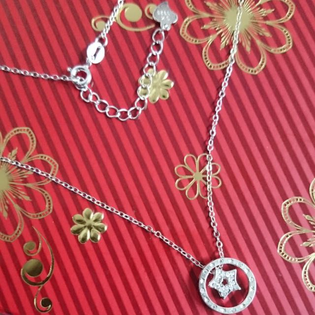 Genuine 925 Italy Silver Circle Star w/ Stones Necklace