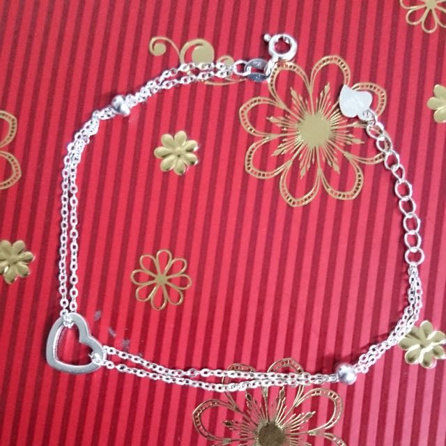 Genuine 925 Italy Silver Heart Duo Chain Bracelet