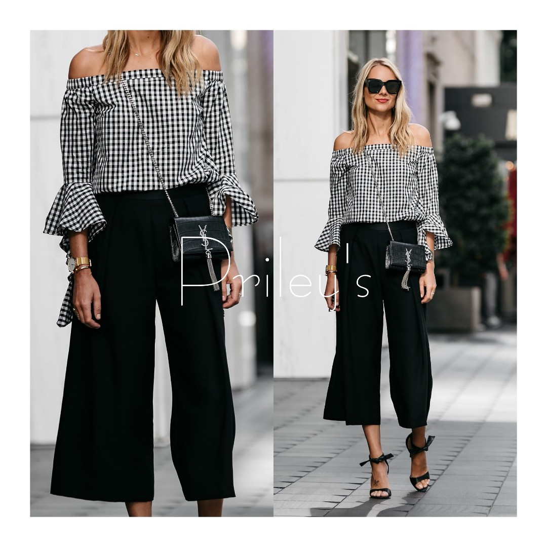 Gingham Off-shoulder Top and Pants