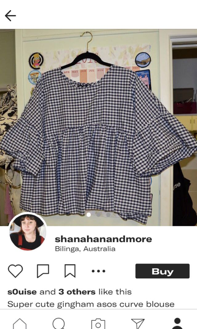 Gingham plus size top