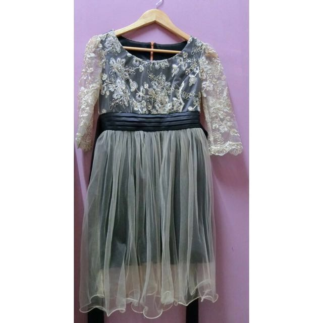 Gold embroidery lace dress #Bajet20