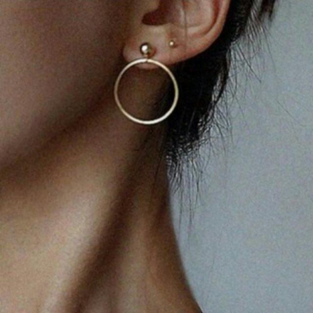 Gold stud hoop earrings