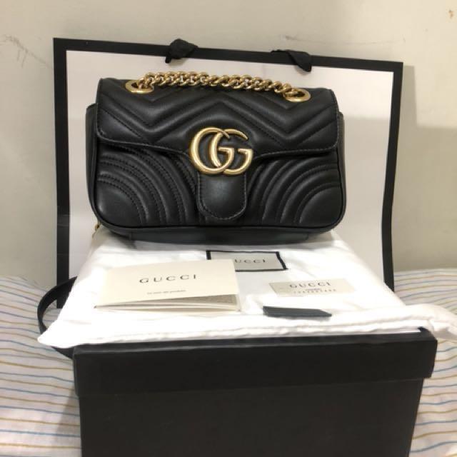 專櫃正品Gucci GG Marmont matelassé mini bag (黑)22cm 肩背包/斜背包 正品