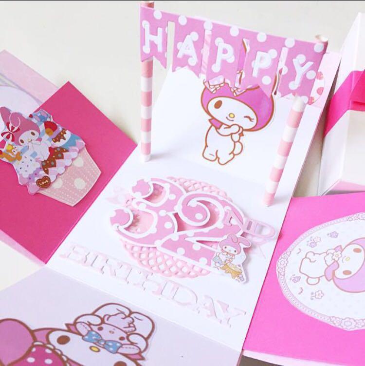 Happy 32nd Birthday Explosion My Melody Theme Handmade Card Design
