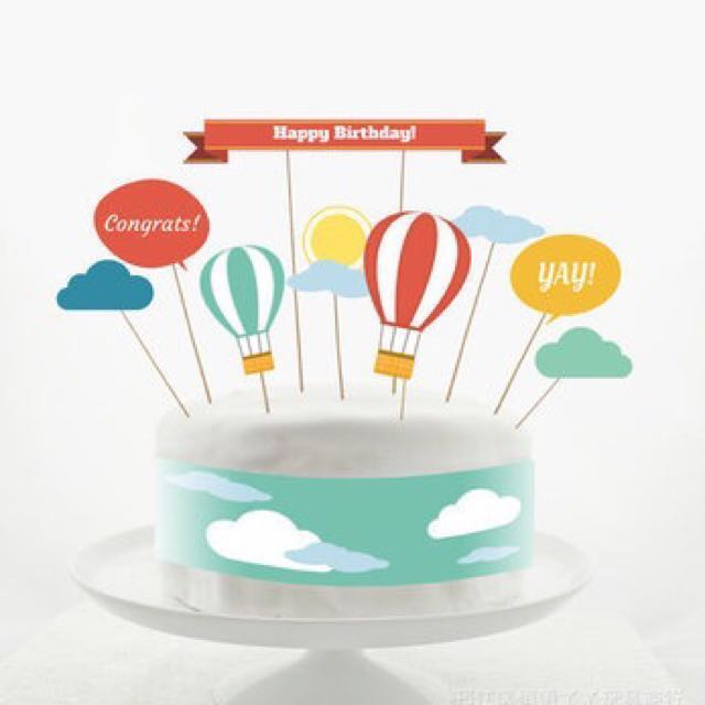 Happy Birthday Cake Topper Decoration Balloon Cupcake Party Decor