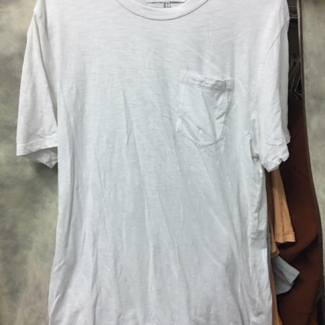 H:Connect 白色圓領口袋T
