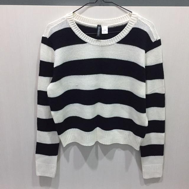 H&M 條紋短版針織上衣 #旺旺一路發