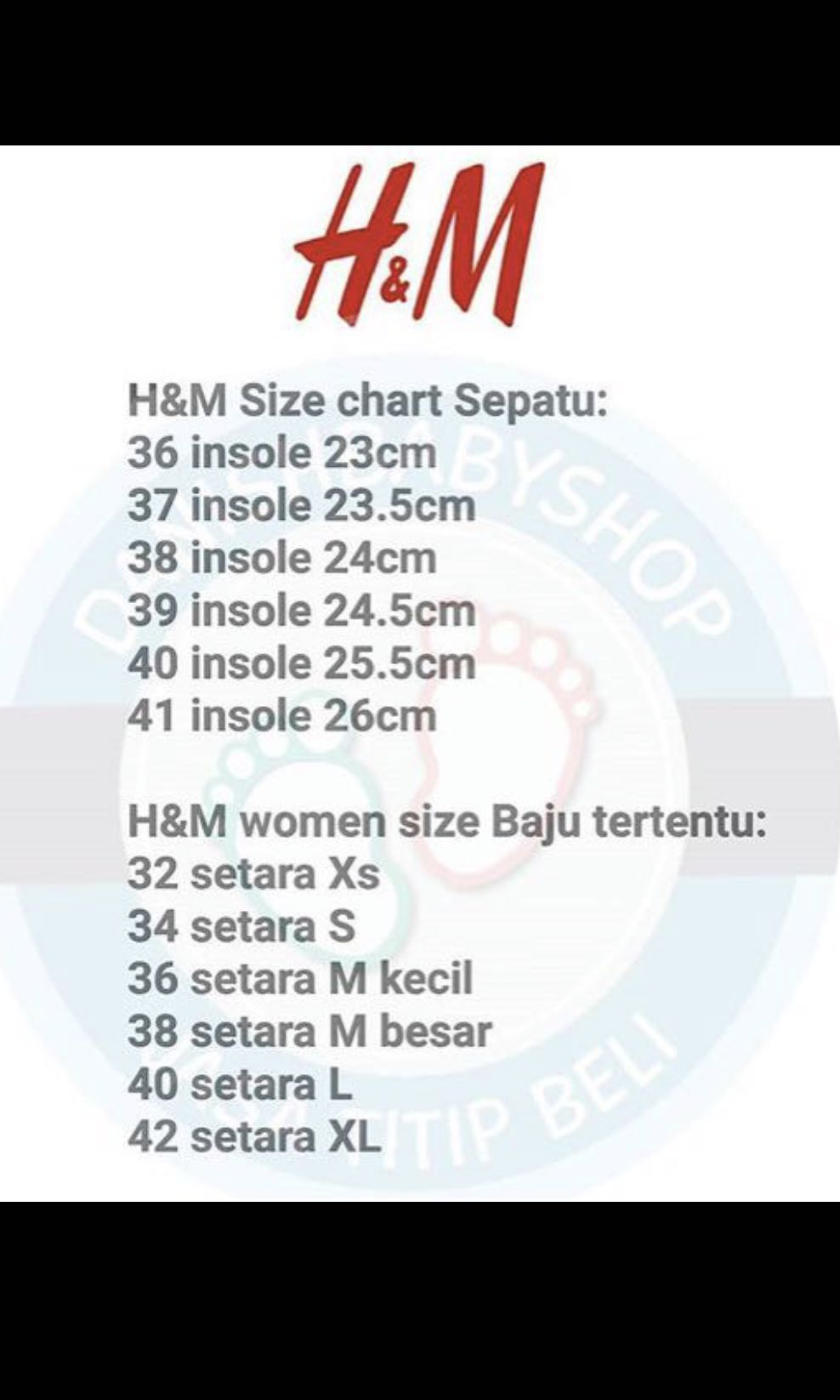 H M Size Chart Women S Fashion Women S Bags Wallets On Carousell