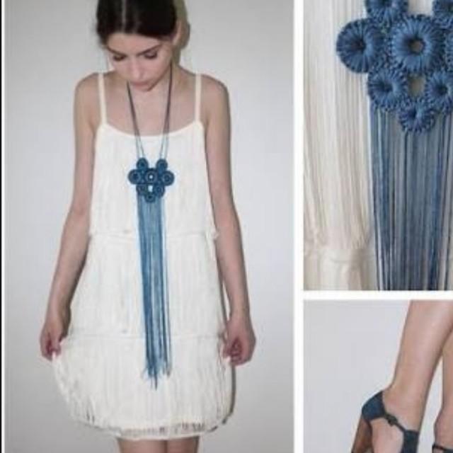 H&M white fringe dress