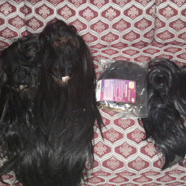 Human hair and synthetic wig set