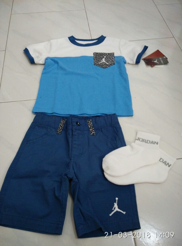 41dc6073be656b Jordan kid 2T blue white cement set shirt shorts socks