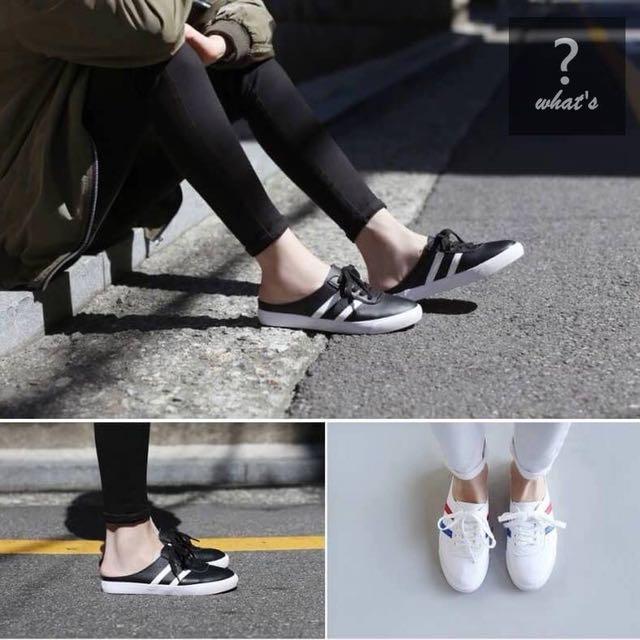Korea👟時尚運動風軟皮柔軟後空綁帶拖鞋