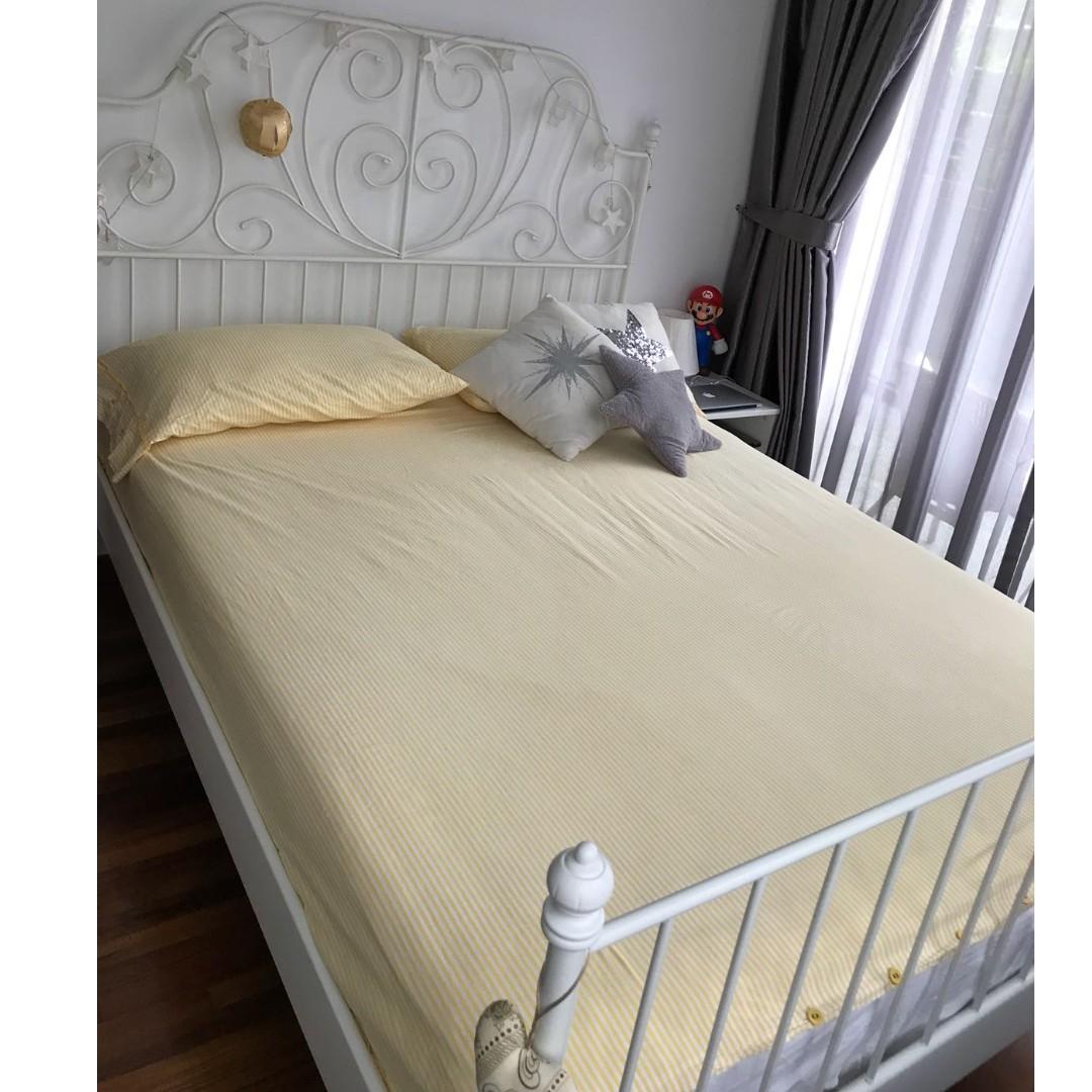Leirvik Bed Frame White Slatted Base Furniture Beds Mattresses On Carou
