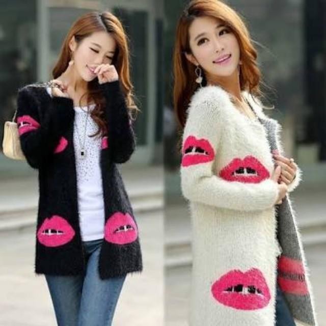 Lips print Cardigan/blazer/coat
