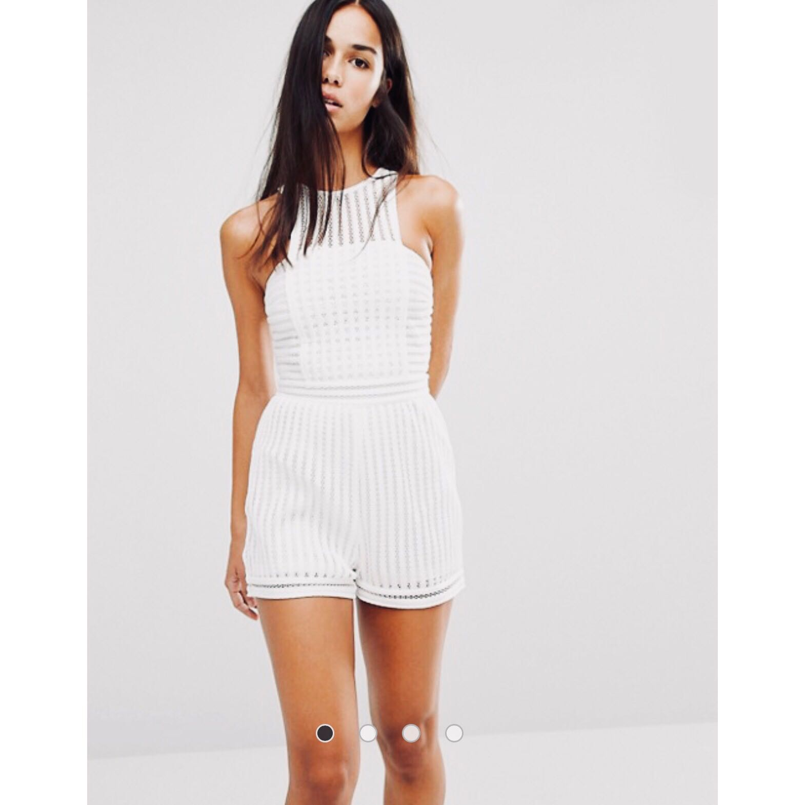 Missguided white mesh playsuit