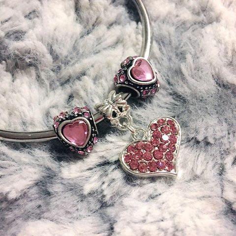 New Pink Heart Charms (Similar to Pandora charms)