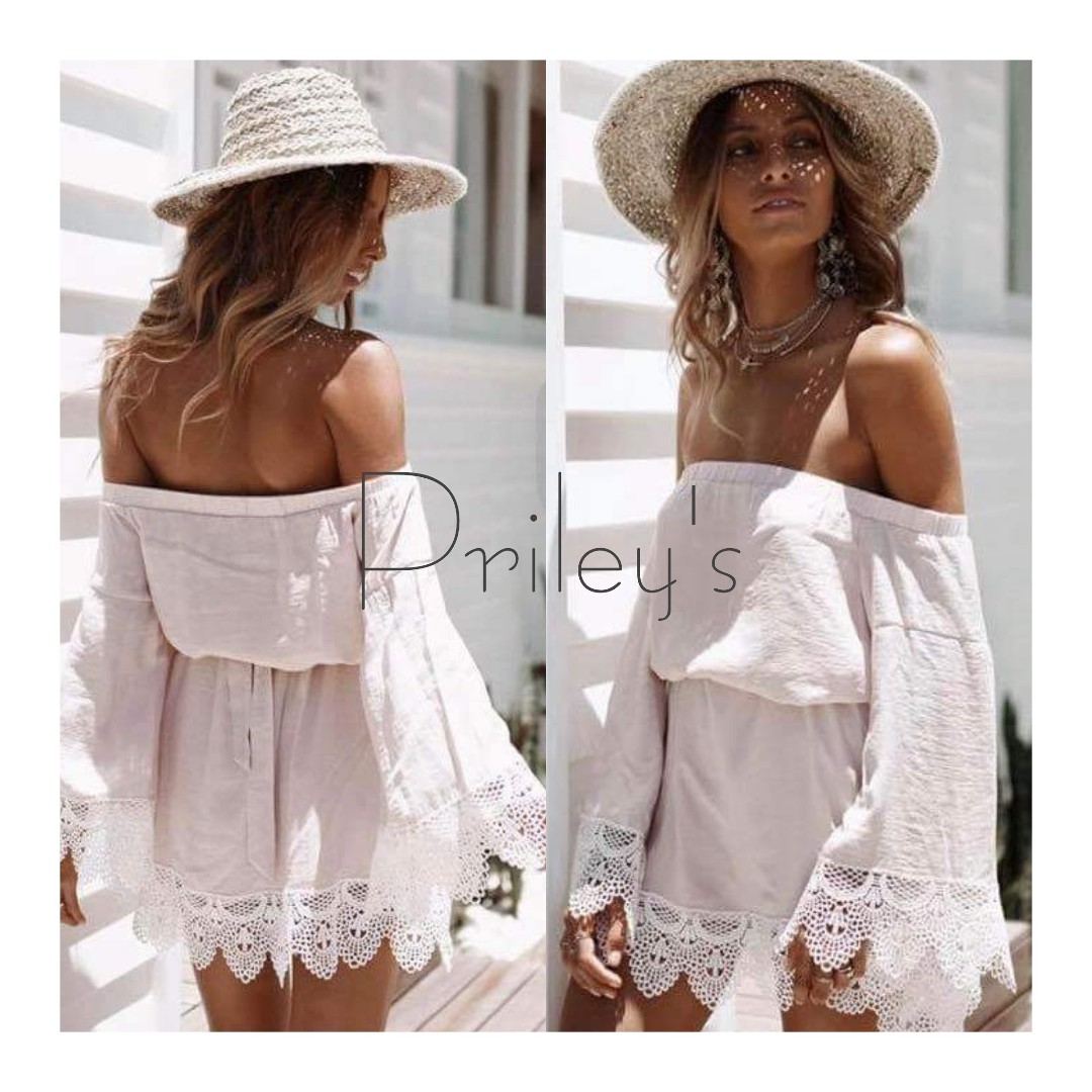 Off-shoulder Lace Hem Dress