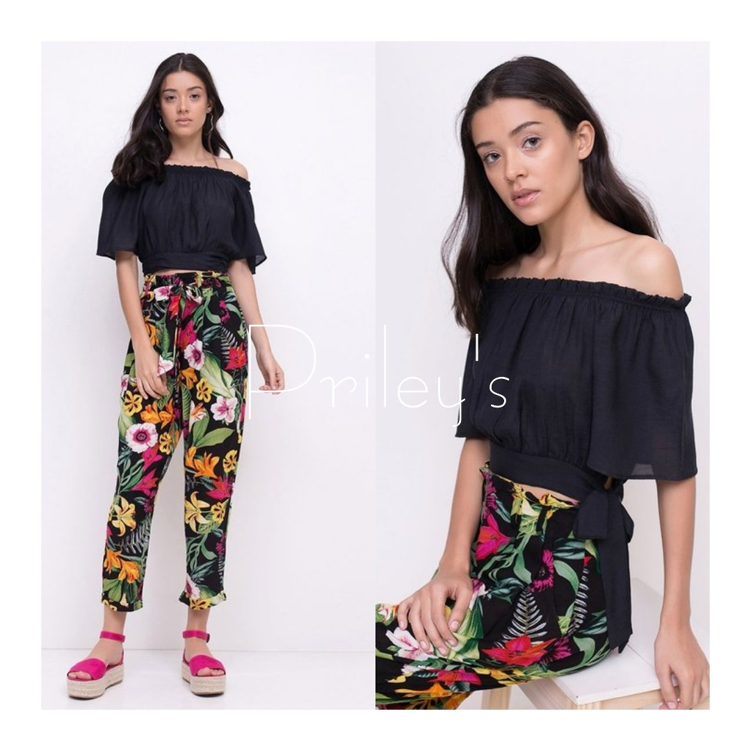Off-shoulder Top and Floral Pants Set