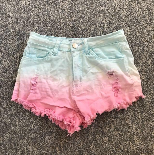 Ombré coloured shorts