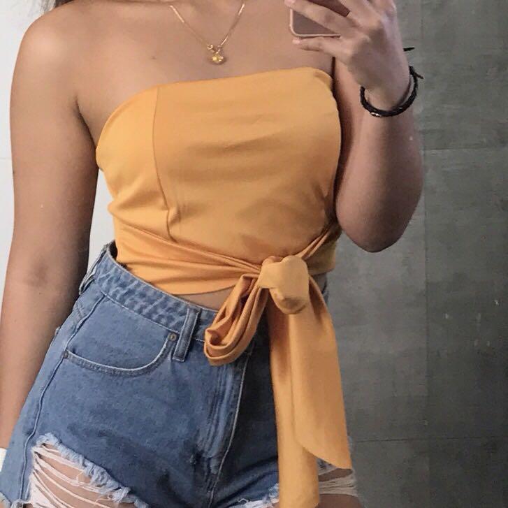 Orange tie up top
