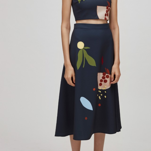Our Second Nature Harvest Midi Skirt in Navy