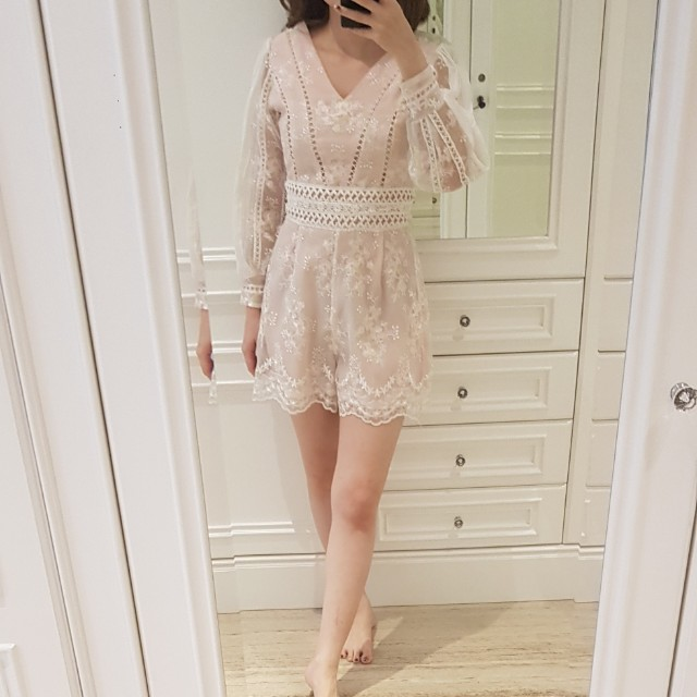 Pink floral embroidery playsuit