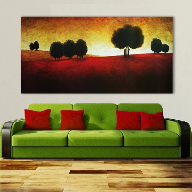 Red Dirt Trees Sunset Handpainted Oil Painting