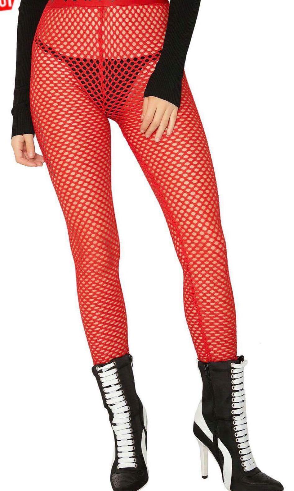 Red mesh leggings