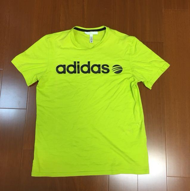 (Size M) Adidas 螢光綠色純棉上衣