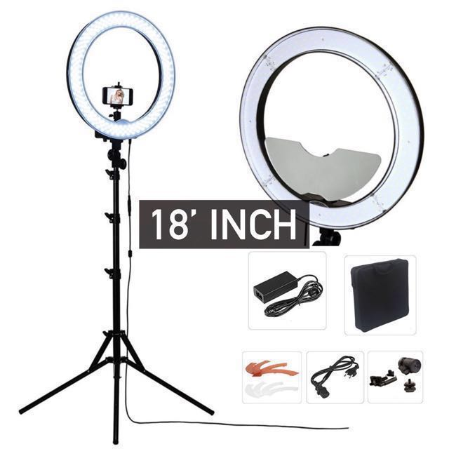 Studio LED Ringlight (18inch) Photography Beauty Lighting With Light Stand Tripod Set, Photography on Carousell