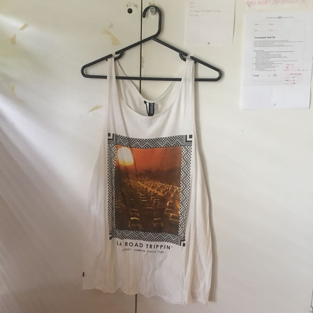STUSSY: LONG GRAPHIC TANK TOP