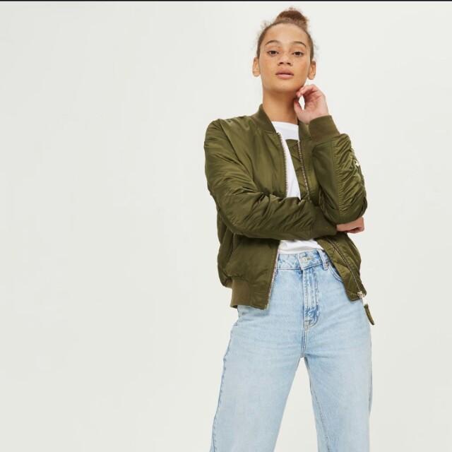 7464e5423 TOPSHOP Green Bomber Jacket, Women's Fashion, Clothes, Outerwear on ...