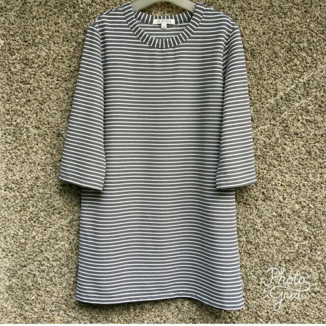 Topten gray white stripes long top blouse