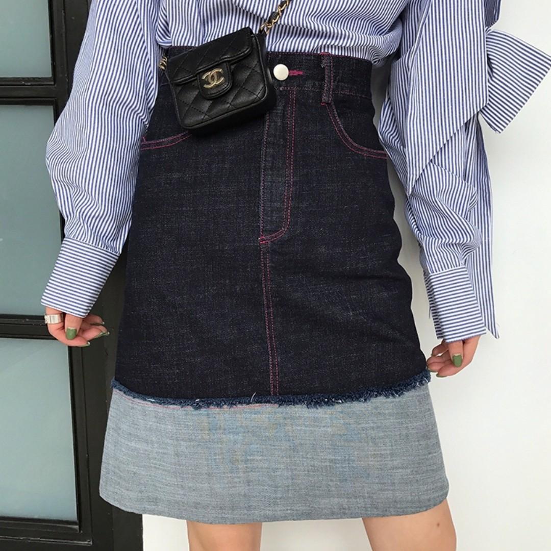 VM 2018春夏新款 原創百搭搭 玫紅壓線設計 復古大翻邊高腰牛仔裙