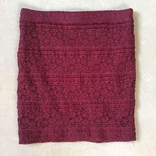 Forever 21(F21) Maroon Lace Bandage Skirt