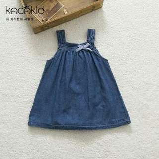 Jean dress with ribbon
