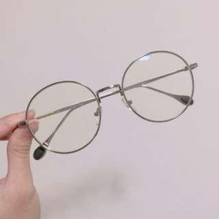 🚚 銀色復古圓框眼鏡