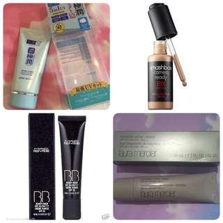 Hada Labo Perfect UV Gel , 5 In 1 Uv Sunblock Sunscreen / MAC Prep & Prime Beauty Balm Spf 35 - Light Plus / Smashbox Camera Ready BB Water - Fair/Light / Laura Mercier Foundation Primer Protect Spf