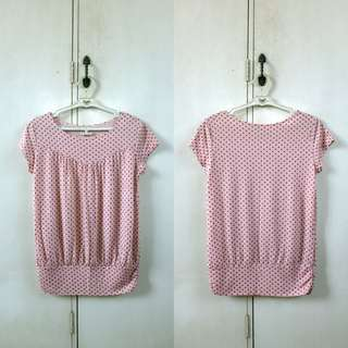 Pink Polka Dot Top with Gold Glitters