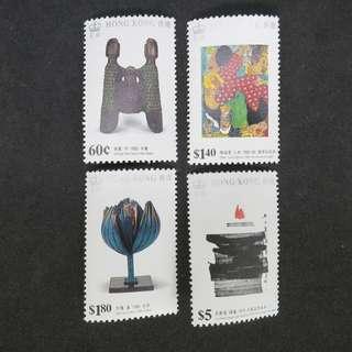 1989年香港現代繪圖及雕塑主題郵票一套共4牧 (原膠,MNH)