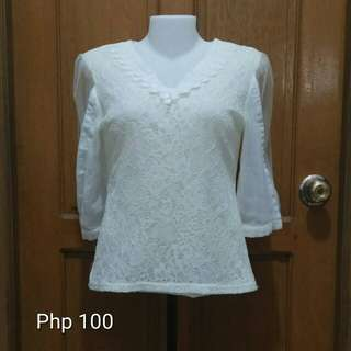 Lace-y Mesh White Quarter Sleeves Top