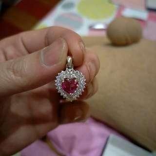 Cubic Zirconia Ruby Heart Pendant