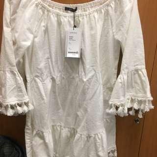 民族風下擺流蘇洋裝 白色