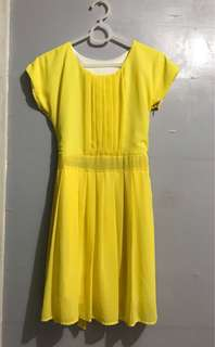 Pleated Yellow Dress