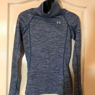 全新UNDER ARMOUR女運動衫/高領/灰綠色/長袖/彈性布料/輕薄/保暖