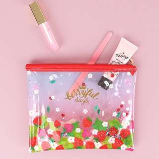 Pretty Glittery Colourful Korea Strawberry🍓 Plastic Cosmetic Stationery Pouch Holder