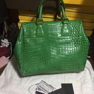 Prada crocodile leather clutch handbag