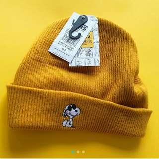 Vans史努比聯名黃色毛帽