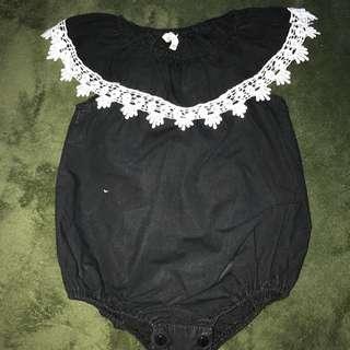 Black Rompers And Velvet Dress