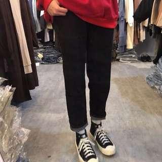 全新☆黑色老爺褲型牛仔褲